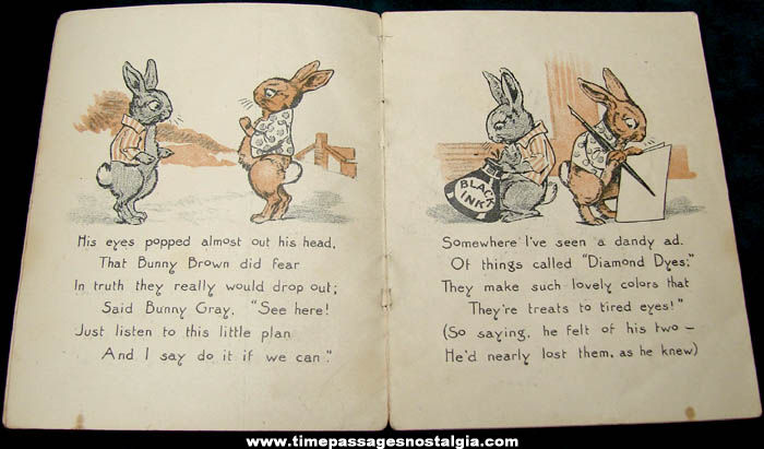 ©1909 Diamond Dyes Advertising Premium Bunny Tale Story Booklet
