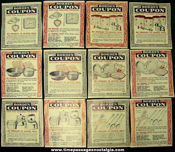 (12) Old Borden Milk Advertising Premium Coupons