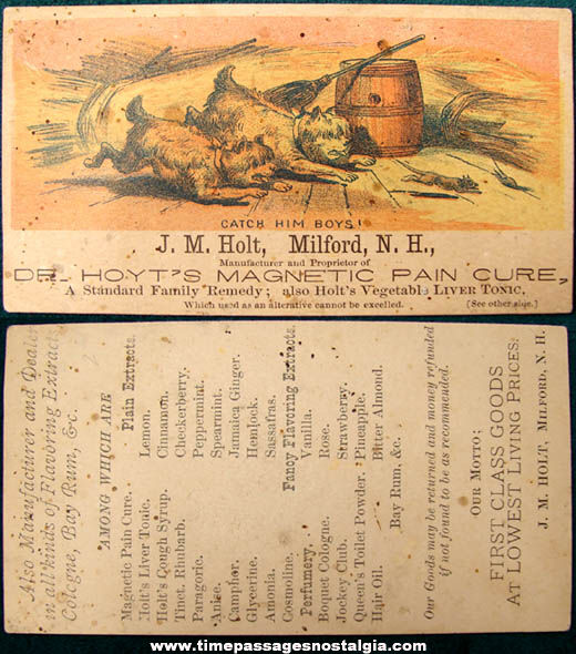 Old J. M. Holt, Milford New Hampshire Advertising Trade Card