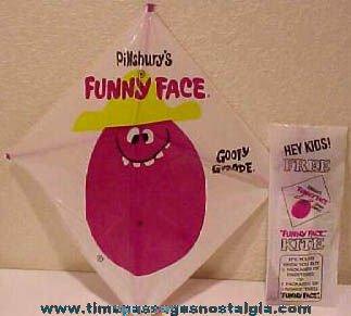 Old Unopened Pillsbury Funny Face Drink Mix Advertising Premium Kite