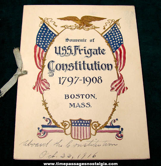 Embossed 1916 U.S.S. Frigate Constitution Boston Massachusetts Souvenir Booklet