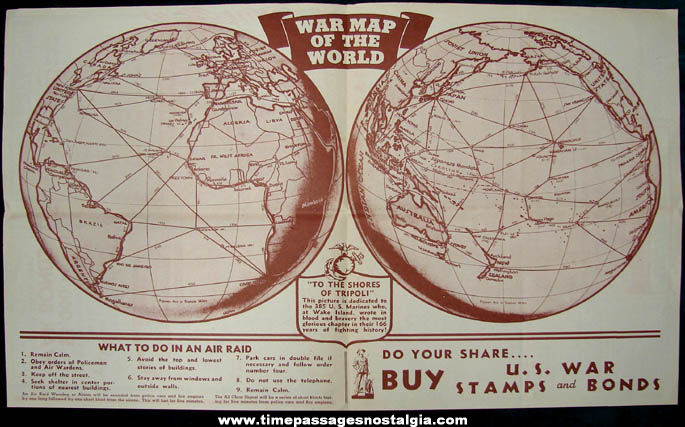 1942 RKO Handbook For Patriotic Americans & World War II Map