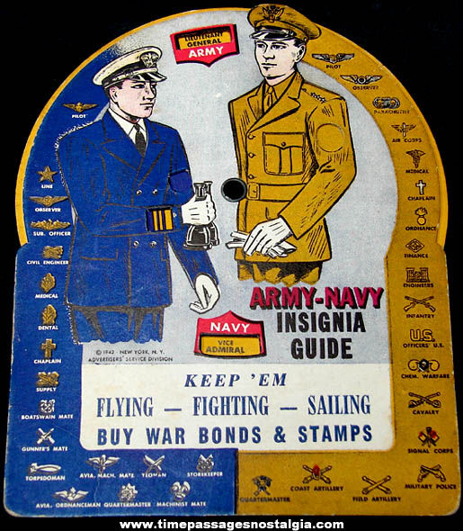 ©1942 World War II Army Navy Paper Dial Insignia Guide