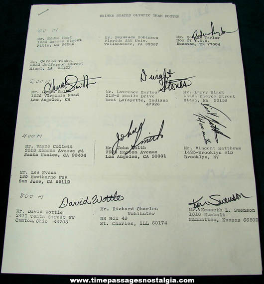 1972 United States Olympic Athletic Team Roster With (28) Autographs