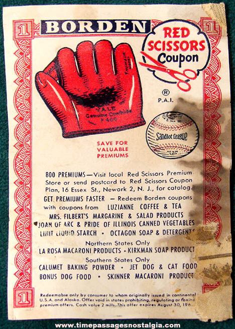 1963 Borden Milk Red Scissors Baseball & Glove Advertising Premium Coupon