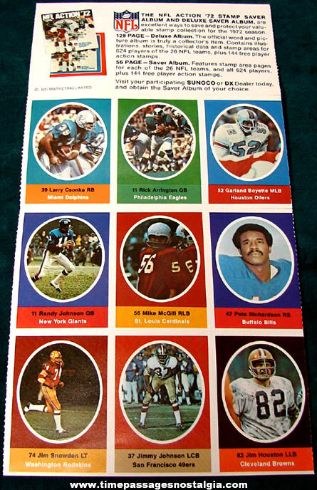 1972 Sunoco Gasoline Advertising Premium Nfl Football Stamp Sheet Tpnc