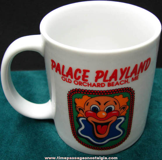 Colorful Unused Palace Playland Arcade Old Orchard Beach Maine Advertising Coffee Cup