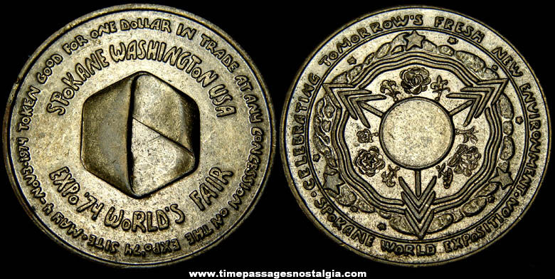 1974 Spokane Washington World's Fair Advertising Souvenir Token Coin