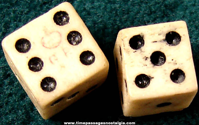 (2) 18th Century Miniature Ivory or Bone Dice (One has tax marks)