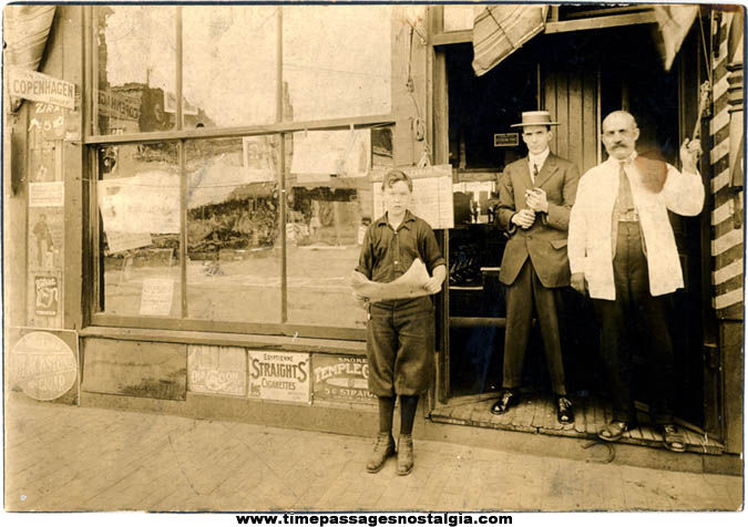 Old Barber, Tobacconist, & Paperboy Occupational Photograph With Advertising