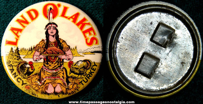 Colorful Old Celluloid Land O Lakes Advertising Pin Back Button Badge