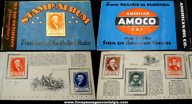 �1936 Amoco Gas Station Advertising Premium Stamp Album With Stamps