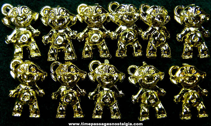 (11) Old Gold Painted Wishnik Character Gum Ball Machine Prize Charms