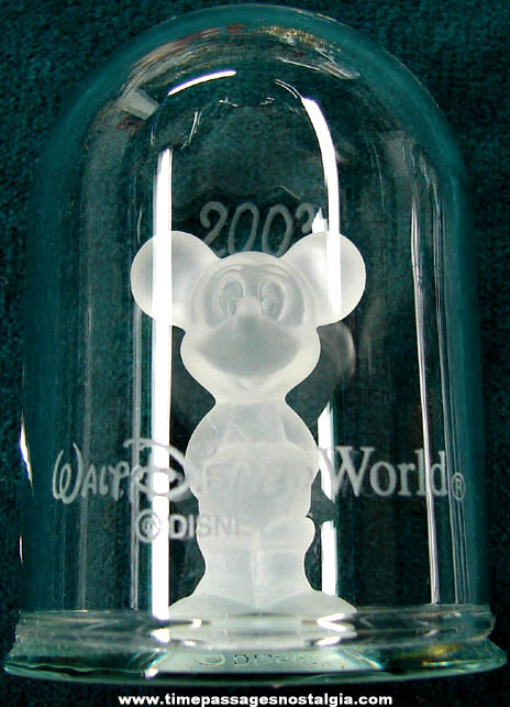 ©2003 Walt Disney World Advertising Souvenir Glass Mickey Mouse Figurine