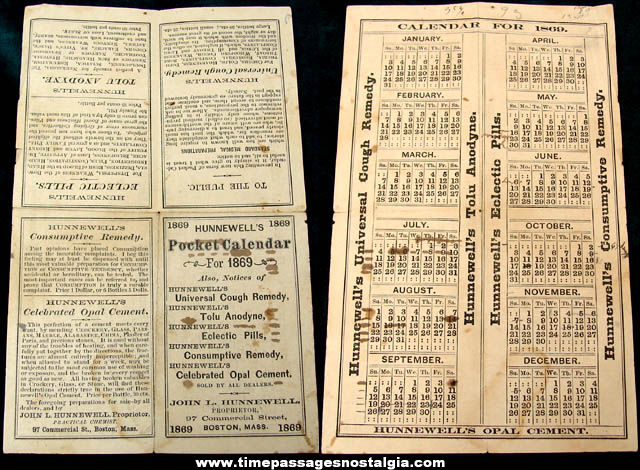 1869 Hunnewell Medicine Boston Massachusetts Advertising Premium Pocket Calendar