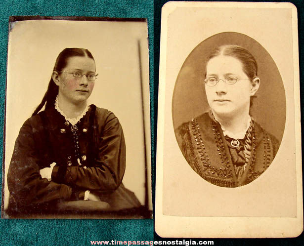 Old New Hampshire Young Lady Tin Type & Cabinet Photograph Card