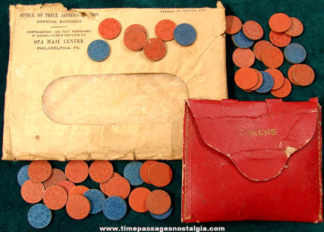 (47) World War II OPA Red & Blue Point Tokens With Wallet & Envelope