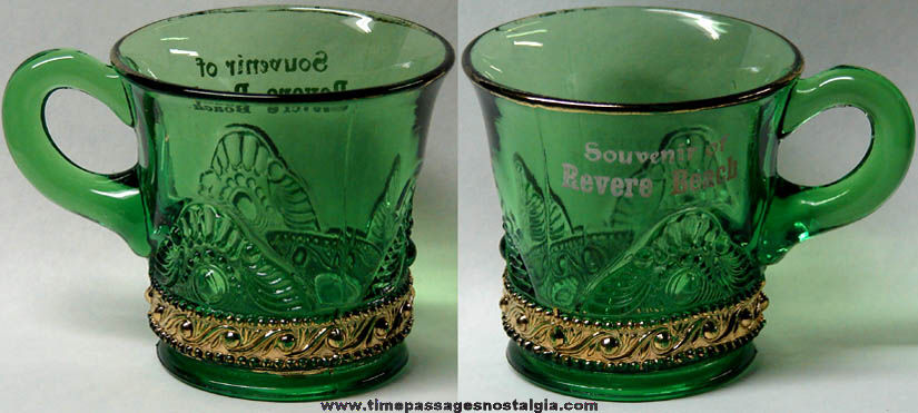 Old Revere Beach Massachusetts Advertising Souvenir Green Glass Mug