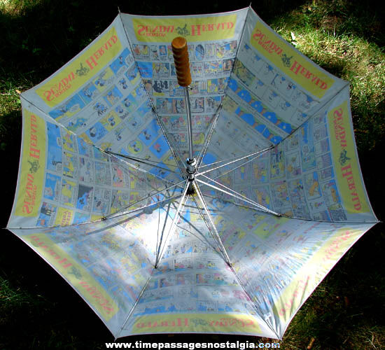 Colorful Old Boston Sunday Herald Newspaper Comic Strip Section Advertising Umbrella