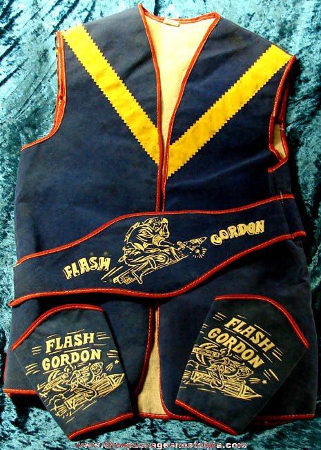Old Flash Gordon Space Character Vest & Cuffs Costume Set