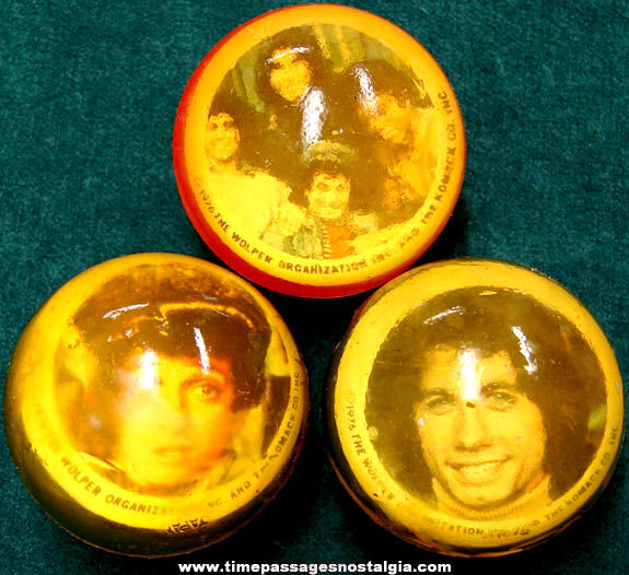 (3) Different ©1976 Welcome Back Kotter Television Show Character Rubber Picture Balls