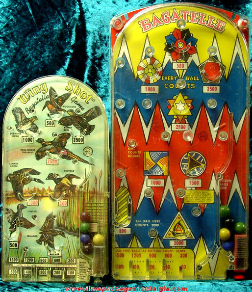 (2) Different Colorful Old MARX Toy Bagatelle Pin Ball Games