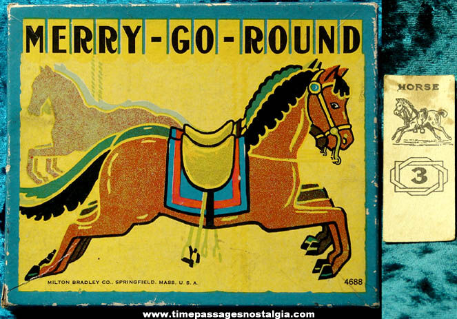 Colorful Old Milton Bradley Merry Go Round Game Box & Card