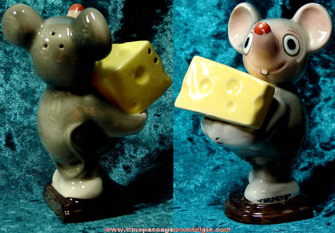 Old Ceramic Mouse & Swiss Cheese Salt & Pepper Shaker Set