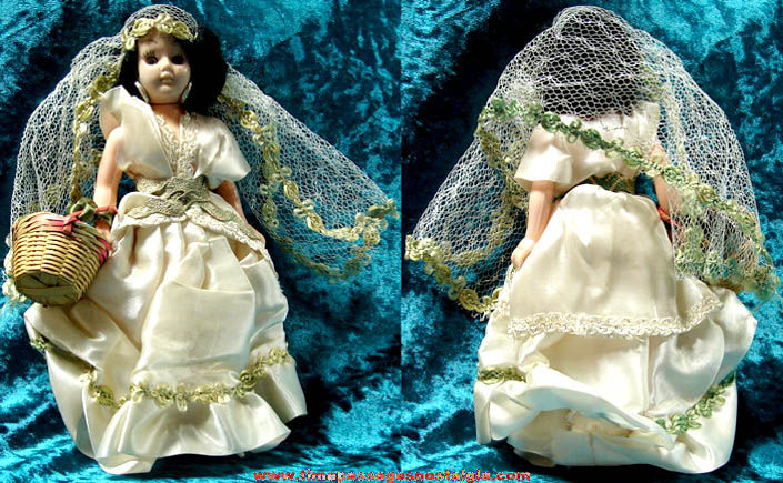 Small Old Toy Bride Doll with Wedding Dress