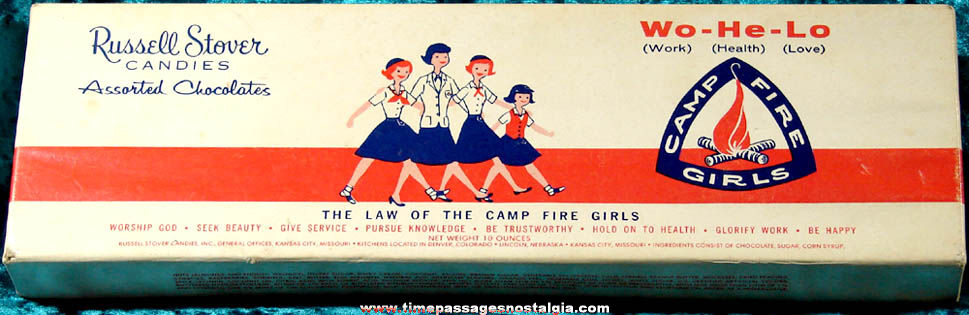 Old Russell Stover Camp Fire Girls Chocolate Candies Advertising Box