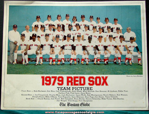 1979 Boston Globe Boston Red Sox Baseball Team Picture