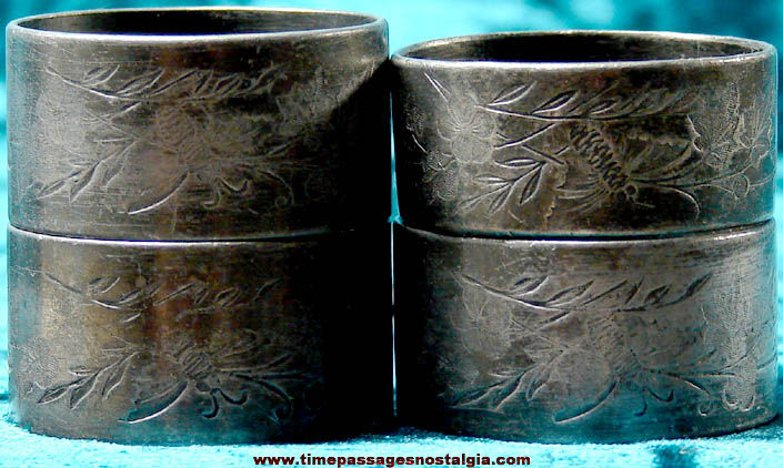 (4) Old Metal Napkin Rings With Bee and Leaf Patterns