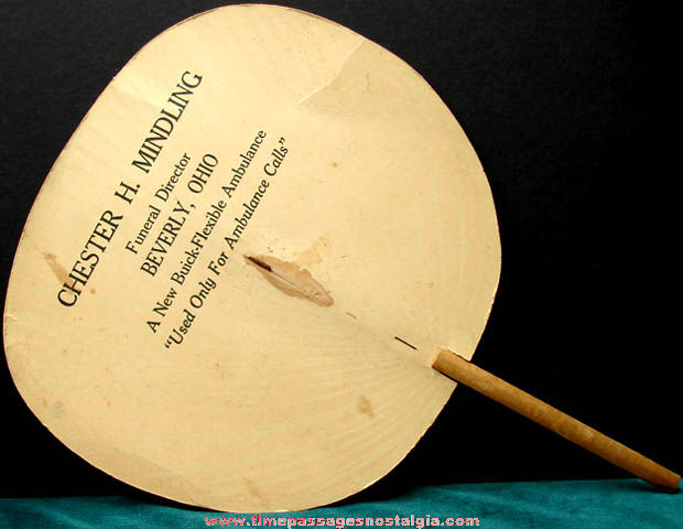 Old Beverly Ohio Funeral Home Advertising Premium Hand Fan