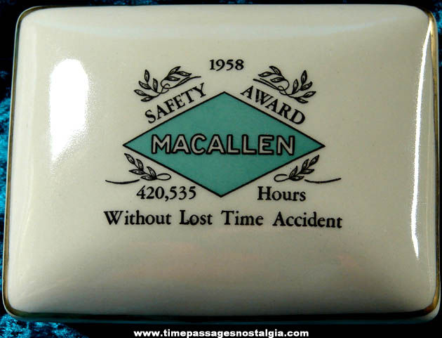1958 Ceramic or Porcelain Macallen Company Safety Award Trinket Box