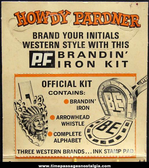 Old Unused P.F. Flyers Shoes Advertising Premium Western Branding Iron Kit