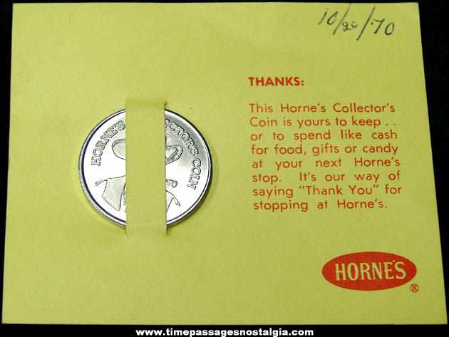 1970 Horne's Carded Advertising Premium Cowboy Token Coin