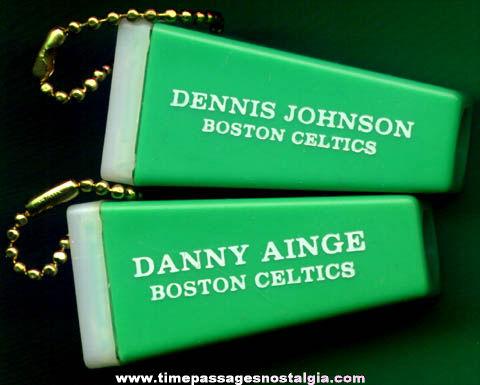 (2) Old Boston Celtics Basketball Player Key Chain Viewers