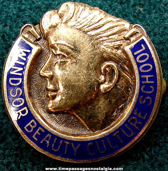 Old Enameled Sterling Silver Windsor Beauty Culture School Pin