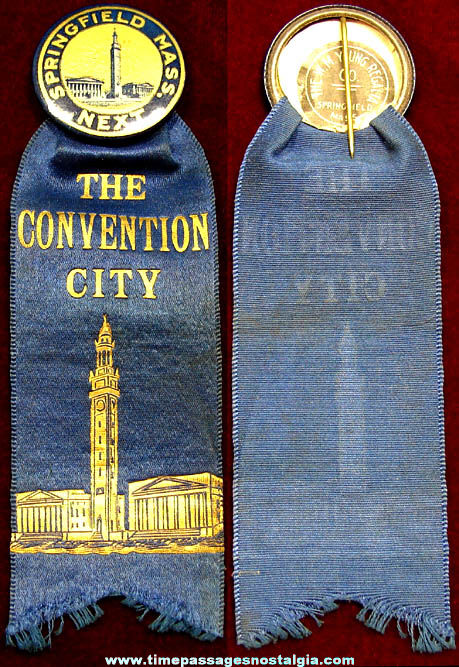 Old Ancient Order of United Workmen Springfield Massachusetts Convention Ribbon Badge
