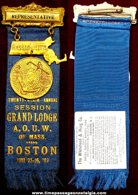 1907 Ancient Order of United Workmen Representative Ribbon Badge