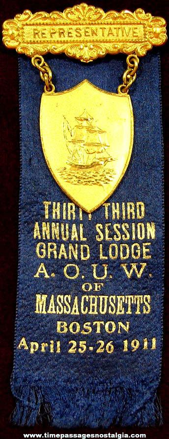 1911 Ancient Order of United Workmen Representative Ribbon Badge