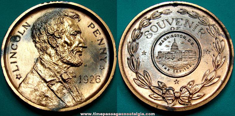 1926 Lincoln Penny Washington, D.C. Souvenir Paper Weight
