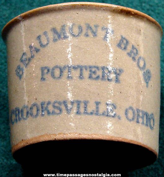Beaumont Brothers Pottery Crooksville Ohio Miniature Advertising Crock