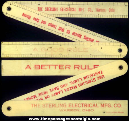 Old Celluloid Sterling Electrical Manufacturing Company Advertising Premium Folding Ruler