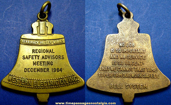 1964 Western Electric Bell System Safety Advertising Key Chain Fob