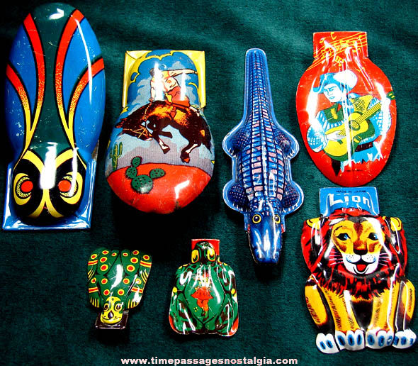 (7) Colorful Old Lithographed Tin Clicker Noise Makers
