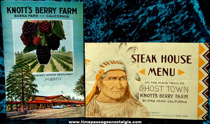 (2) Old Knott's Berry Farm Restaurant Advertising Souvenir Menu Booklets