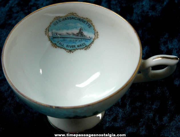 Old U.S.S. Massachusetts BB-59 Advertising Souvenir Tea Cup & Saucer