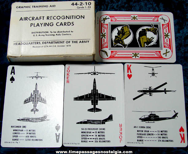 Boxed 1979 U.S. Army Aircraft Recognition Playing Cards