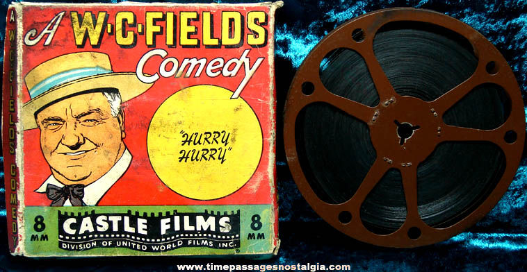 Old Boxed W. C. Fields Hurry Hurry 8mm Castle Movie Film